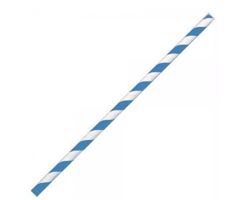 Papier- Trinkhalme blau-weiss, 195x6mm