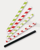 Papier-Trinkhalme grün/weiss, 130mm, Ø8mm